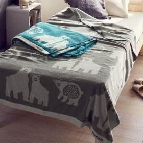 タオルケット ケット 綿100%のジャカード織タオルケット カラー 「グレー」