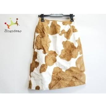 ニジュウサンク 23区 スカート サイズ38 M レディース 美品 ダークブラウン×白 スペシャル特価 20190801