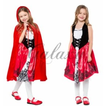ハロウィン 赤ずきん 童話 メイド服 ワンピース レッド マント付き キッズ 子供用 仮装 コスプレ衣装 ps3369