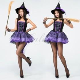ハロウィン 魔女 デビル 小悪魔 魔法使い ウィッチ パープル ワンピース S-XXL コスプレ衣装 ps3508