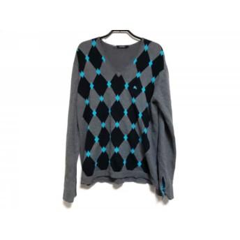 【中古】 バーバリーブラックレーベル 長袖セーター サイズ3 L メンズ グレー 黒 ライトブルー