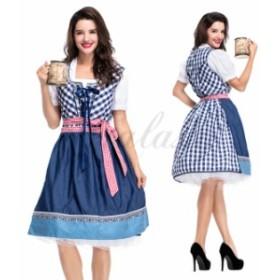 ハロウィン ビールガール ドイツ メイド服 ワンピース 民族衣装 S-XL サイズ コスプレ衣装 ps3524