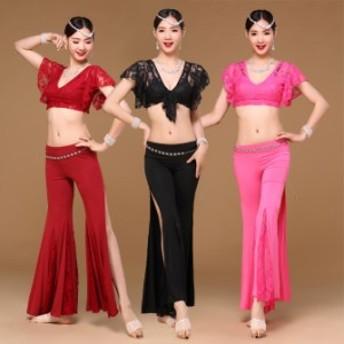 ベリーダンス インドダンス チャチャチャ 練習服 三色 レース 上下セット セクシー ダンス衣装 rysk01411