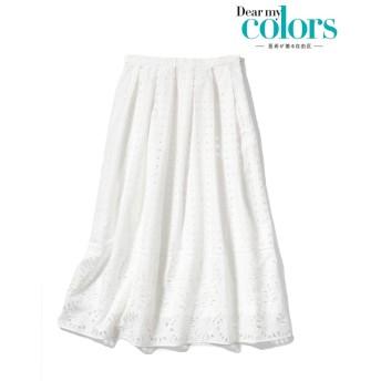 自由区 【亜希さん着用】エンブロイダリーコットン ロングスカート(検索番号H36) その他 スカート,ホワイト