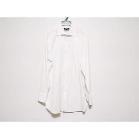 【中古】 バーバリーブラックレーベル 長袖シャツ サイズ41 メンズ 白 ダークグレー ストライプ