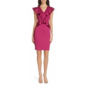 テッドベーカー レディース ワンピース トップス Ted Baker London Alair Ruffle Body-Con Dress Deep Pink