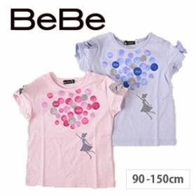 【A-3】9/5再値下げ 70%OFF【BeBe/ベベ】バルーンプリント袖リボン半袖 Tシャツ 女の子 子供服 BeBe ベベ BEBE bebe キッズ アウトレッ