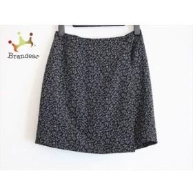 アニエスベー agnes b 巻きスカート サイズ36 S レディース 美品 黒×アイボリー×グレー 花柄     スペシャル特価 20190801