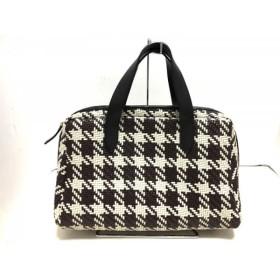 【中古】 マルニ MARNI ハンドバッグ 美品 ダークブラウン アイボリー 黒 編み込み レザー
