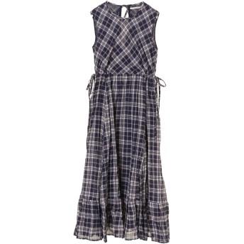 ne Quittez pas ヌキテパ/【ウォッシャブル】CHECK BACK RIBBON DRESS ワンピース ワンピース,NAVY
