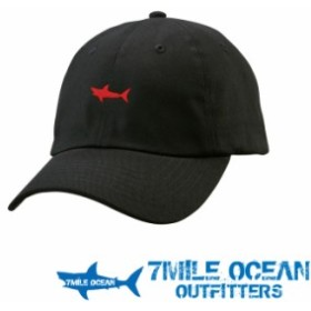 7MILE OCEAN 帽子 キャップ ベースボールキャップ ワンポイント 刺繍 鮫 サメ シャーク フリーサイズ ブラック 黒