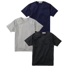 吸汗速乾メッシュ半袖クルーネック無地Tシャツ3枚組 Tシャツ・カットソー