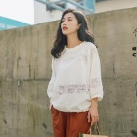 2019   レディース    シャツ   刺繍   透かし  トレンド    カジュアル   韓国ファッション   人気