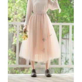 スカート チュールスカート ロング丈 シースルー 桜刺繍 お出掛け デート リゾート 旅行 春夏  チュール 大人可愛い 合わせやすい マ
