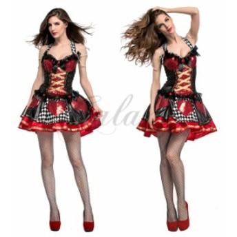 ハロウィン 不思議の国のアリス ハートの女王様 トランプガール 童話 S-XL サイズ コスプレ衣装 ps3555
