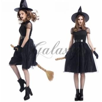 ハロウィン 魔女 帽子付き ワンピース 魔法使い デビル 小悪魔 ウィッチ イベント パーティー コスプレ衣装 ps3003
