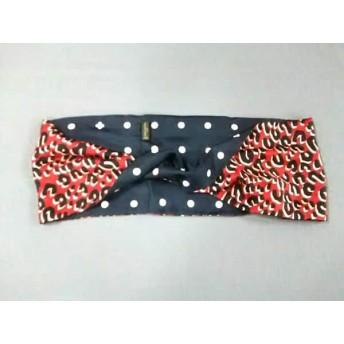 【中古】 ルイヴィトン LOUIS VUITTON スカーフ 美品 レッド 黒 ピンク シルク