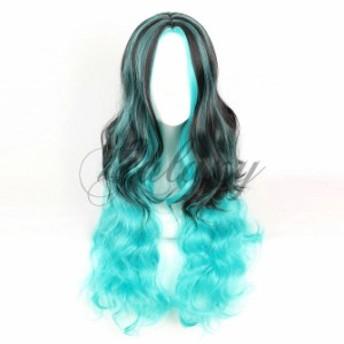 原宿ガール かわいい ロリータ ロング ブルー 水色 ブラック 巻き髪 コスプレ 耐熱ウィッグwig-808f