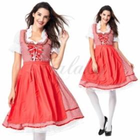 ハロウィン ビールガール ドイツ メイド服 レッド ワンピース 民族衣装 S-XXXLサイズ コスプレ衣装 ps3604