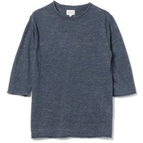 BEAMS / リネン クルーネック 7分丈 ニット メンズ ニット・セーター NAVY XL