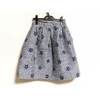 【中古】 エムズグレイシー M'S GRACY スカート サイズ36 S レディース 白 ネイビー ツイード