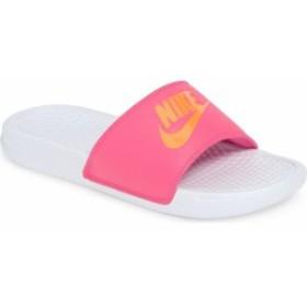 ナイキ レディース サンダル シューズ Nike Benassi JDI Slide Sandal (Women) White/ Orange/ Fuchsia