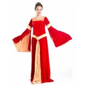 ハロウィン 宮廷風 中世期 ヨーロッパ風 女王 貴族 女神 レッド ドレス コスプレ衣装 ps3571