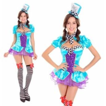 ハロウィン アリス 帽子屋 童話 メイド服 マジック マジシャン ワンピース パーティー イベント コスプレ衣装 ps3173