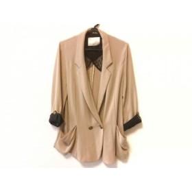 【中古】 カリテ qualite ジャケット サイズ2 M レディース 美品 ベージュ 黒 ロング丈