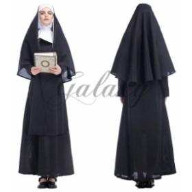 ハロウィン  シスター 修道士 マザー 修道服 教会 大きいサイズ 仮装 ダンス パーティー イベント コスプレ衣装 ps3044
