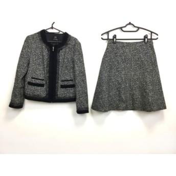 【中古】 ニジュウサンク 23区 スカートスーツ サイズ40 M レディース 黒 白 ジップアップ