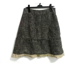 【中古】 ヒロココシノ HIROKO KOSHINO スカート サイズ42 L レディース 黒 ベージュ ツイード