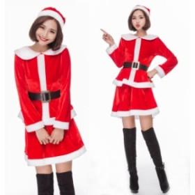 クリスマス サンタ XMAS サンタクロース 可愛い スカート 帽子付き  イベントパーティー コスプレ衣装 sdps038