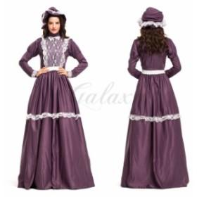 ハロウィン 宮廷風 ヨーロッパ風  パープル レース ワンピース メイド服 使用人 コスプレ衣装 ps3426