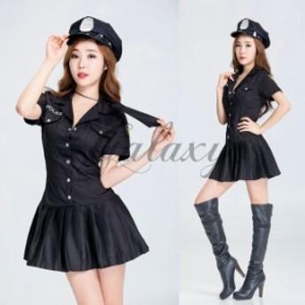 ハロウィン  警察 婦人警官 ポリス 教官 制服 ブラック ワンピース ダンス イベント パーティー コスプレ衣装ps3068