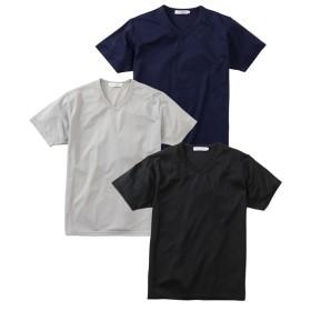 吸汗速乾メッシュ半袖Vネック無地Tシャツ3枚組 Tシャツ・カットソー