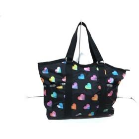 【中古】 レスポートサック LESPORTSAC ハンドバッグ 美品 黒 ピンク マルチ レスポナイロン