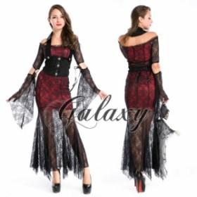 ハロウィン 魔女 ブラック&レッド くもの巣柄 ドレス コスプレ 衣装 ps1790