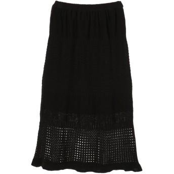 JETSET SOLOPLUS ジェットセットソロプラス リネン混透かし柄ニットスカート ロング・マキシ丈スカート,ブラック
