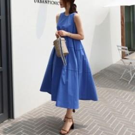 ワンピース 体型カバー ノースリーブ フレア スカート サマードレス ロングスカート 大きいサイズ 送料無料 おすすめ レディース きれい