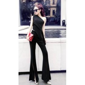 パーティードレス パンツ かっこいいパンツドレス 結婚式 セットアップ ワンショルダー クール セクシー スリット 肌見せ 20代 30代 二次