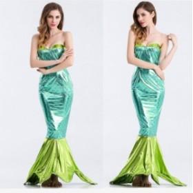 ハロウィン  人魚 人魚姫 マーメイド 童話 グリーン ドレス コスプレ衣装 ps2803