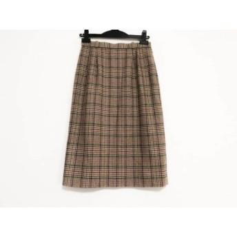 【中古】 レリアン Leilian スカート サイズ9 M レディース ベージュ ボルドー ダークグリーン 千鳥格子