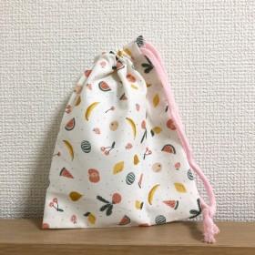 フレッシュ カラフルフルーツ柄のコップ袋 巾着袋