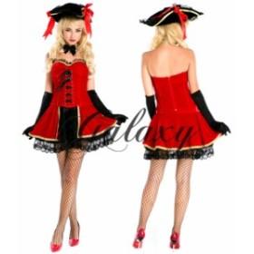 ハロウィン 海賊 パイレーツ レッド&ブラック ワンピース コスプレ 衣装 ps1777