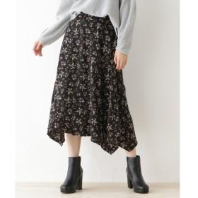 OZOC / オゾック 【洗える】ミモレ丈花柄フレアスカート