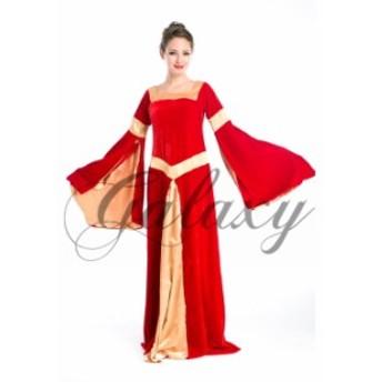 レッド ドレス ワンピース ベルスリーブ コスプレ 衣装 ps1757