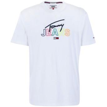 《期間限定 セール開催中》TOMMY JEANS メンズ T シャツ ホワイト L コットン 100% TOMMY SCRIPT TEE