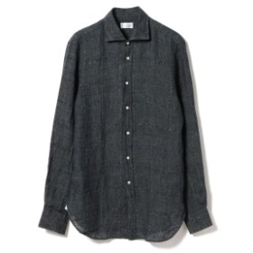 GUY ROVER / リネン ウインドウペーン ワイドカラーシャツ◎ メンズ カジュアルシャツ D.GRN/5 XL