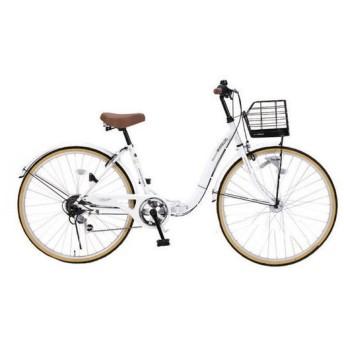 マイパラス M-509-W ホワイト PRINTEMPS [折り畳みシティサイクル(26インチ・6段変速)] 折りたたみ自転車・ミニベロ